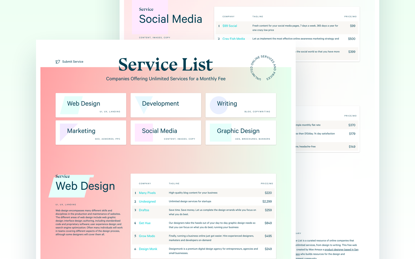 Service list - Unlimited graphic design service